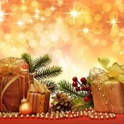 christmas gift with decoration - stock illustration