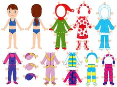 Paper doll and warm clothes set for her Stock Illustration