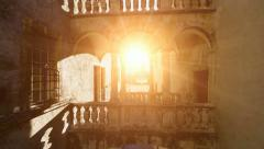 Flying into the sun light. nostalgic building. romantic. old. fly over Stock Footage