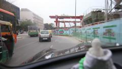 Delhi Metro construction from taxi Stock Footage
