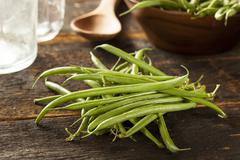Fresh organic raw french green beans Stock Photos