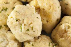 homemade matzo balls with parsley - stock photo