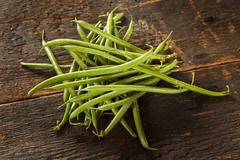 fresh organic raw french green beans - stock photo