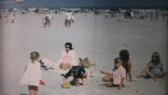 Family Spends Time Together At The Beach-1967 Vintage 8mm film - stock footage