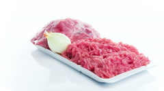 Fresh minced meat with onion Stock Footage