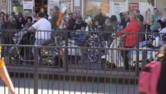 Birmingham's St Patrick's Day parade 2014 - parade of scooters Stock Footage