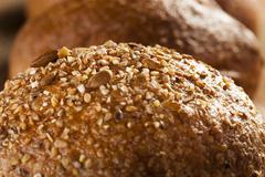 homemade whole grain dinner rolls - stock photo