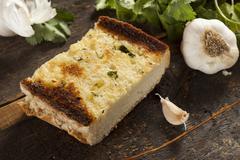 homemade crunchy garlic bread - stock photo