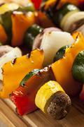 organic grilled vegetable shish kebab - stock photo