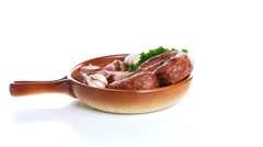 Sausage with white cabbage Stock Footage