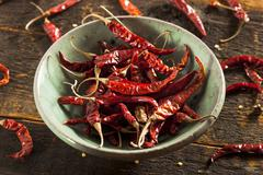 organic dried red hot peppers - stock photo