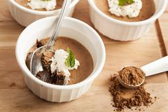 rich gourmet homemade chocolate mousse dessert - stock photo