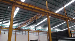 Working with Crane over head in Steel war Stock Footage
