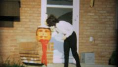 Jack O Lantern Pumpkin For Halloween-1967 Vintage 8mm film - stock footage