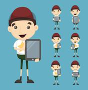 Set of boy and tablet Stock Illustration