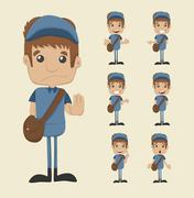 set of postman - stock illustration