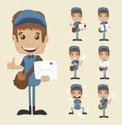 set of postman - stock illustration