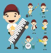 Set of boy and music Stock Illustration