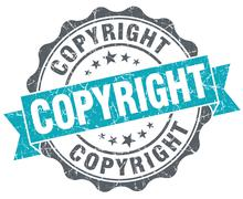 copyright blue grunge retro style isolated seal - stock illustration