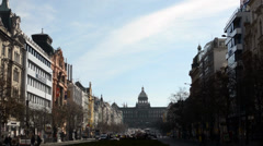 PRAGUE, CZECH REPUBLIC - MARCH 2014: Wenceslas Square - in sunny day Stock Footage