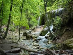 Natural spring waterfall Stock Photos