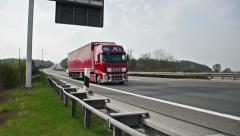 Truck on german autobahn/highway driving away on a bridge Stock Footage