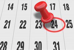 Calendar with pushpin Stock Illustration