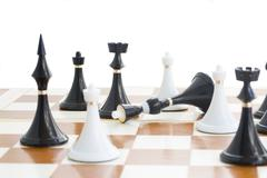 Checkmate white defeats black quinn Stock Photos