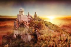 artistic view of san marino tower: the cesta or fratta at sunset - stock illustration