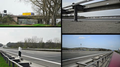 Truck on german autobahn/highway driving away on a bridge Stock Footage