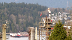 Oil refinery flare stack Stock Footage