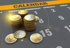 calendar with coins - stock illustration