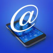 touch screen mobile phone with email icons - stock illustration