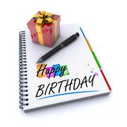 Happy birthday with a gift Stock Illustration