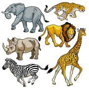Asetettu afrikkalainen eläinten savanni Piirros