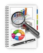 notebook analyzing concept - stock illustration