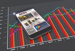 Stock Illustration of world news articles on digital mobile smart phone