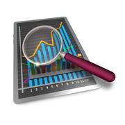 notebook analyzing concept - stock illustration