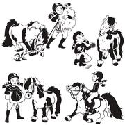 Girl and pony black and white Stock Illustration