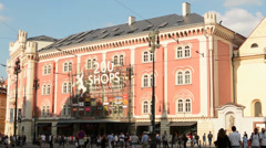 Historic Building (inside shopping center Palladium) on the street with people - stock footage