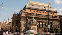 PRAGUE, CZECH REPUBLIC: National theatre and street with people - sunny day Stock Footage
