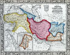 Antique map of persia, turkey in asia. afghanistan Kuvituskuvat
