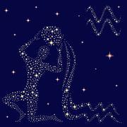 Zodiac sign aquarius on the starry sky Stock Illustration