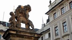 PRAGUE, CZECH REPUBLIC - SEPTEMBER 2013: Prague Castle (morning) - Lion and Flag Stock Footage