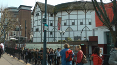 Shakespeare's globe theatre london, with passersby. Stock Footage