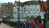 Stock Video Footage of shakespeare's globe theatre london, with passersby.