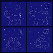 Stock Illustration of four zodiac signs: aries, taurus, gemini, cancer