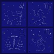 Four zodiac signs: leo, virgo, libra, scorpio Stock Illustration