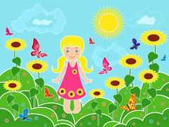 small girl on the field among sunflowers - stock illustration