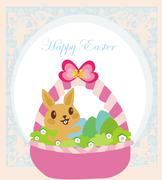easter bunny with basket full of easter eggs - stock illustration